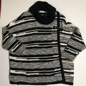 CALVIN KLEIN Strip Cape Poncho Knitted Sweater